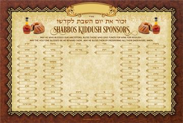 Picture of Kiddush Weekly Sponsors English with Frame
