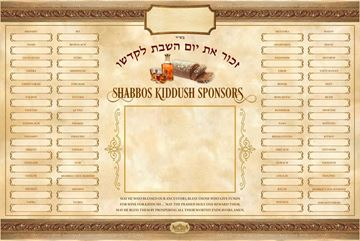 Picture of Kiddush Weekly Sponsors + Insert