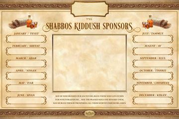 Picture of Kiddush Sign Monthly Sponsors with Frame