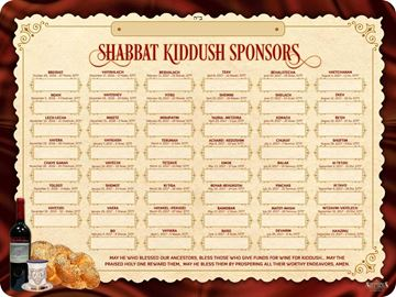 Picture of Shabbat Kiddush Weekly Sponsors - 5777