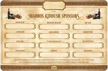 Picture of Kiddush Sponsor Sign - Summer Weeks