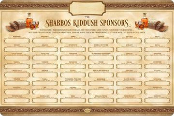 Picture of SHABBAT KIDDUSH WEEKLY SPONSORS - 5778