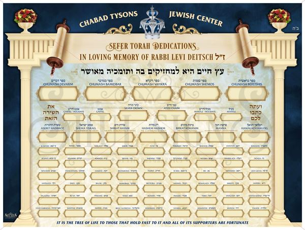 Picture of Custom Sefer Torah Dedication Board