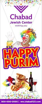 Picture of Happy Purim Roll Up Banner  + Stand