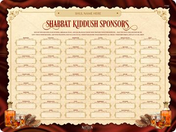 Picture of Shabbat Kiddush Weekly Sponsors - 5779
