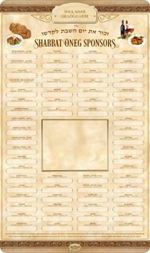 Picture of Shabbat Oneg Sposnors - 5781 + Insert