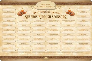 Picture of SHABBAT KIDDUSH WEEKLY SPONSORS - 5780