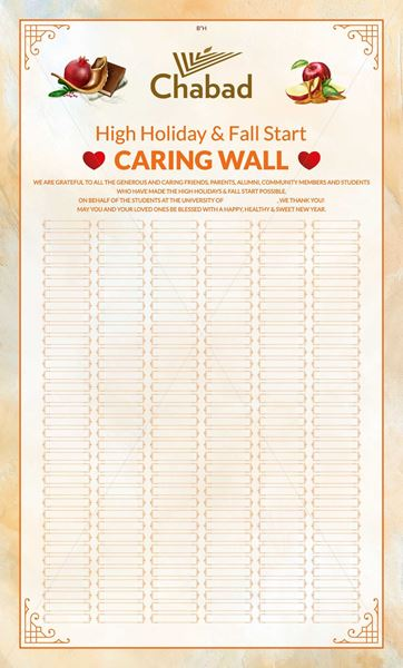 Picture of High Holidays Caring Wall - Chabad on Campus