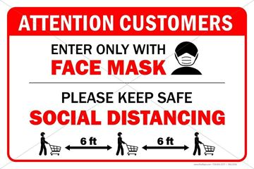 Picture of Store Sign - Social Distancing & Mask