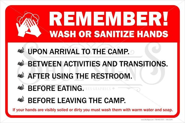 Picture of Day Camp Sign - When to wash hands
