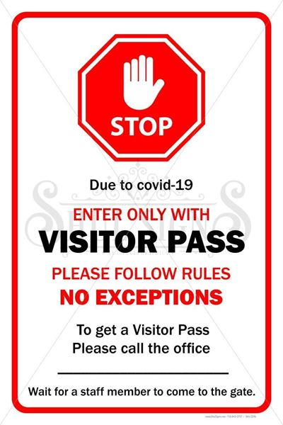 Picture of Sign - Enter Only Visitor Pass- Covid 19