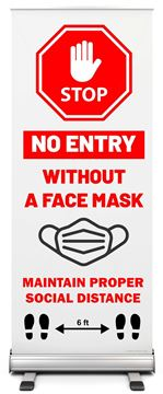 Picture of Covid Roll Up Banner + Stand - Mask & Social Distancing