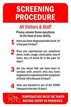 Picture of Covid-19  - Screening Procedure Sign