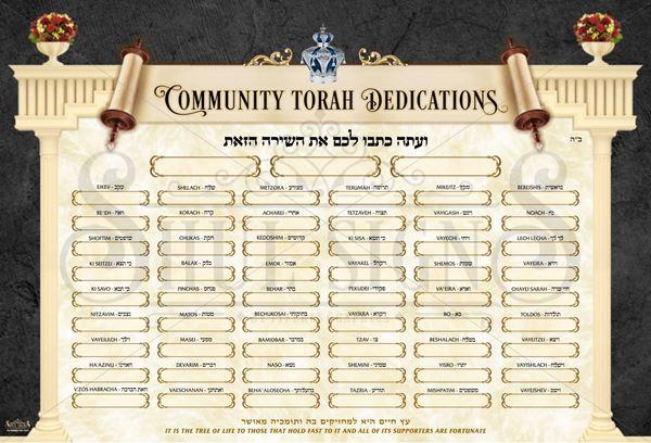 Picture of Sefer Torah Dedication Sign