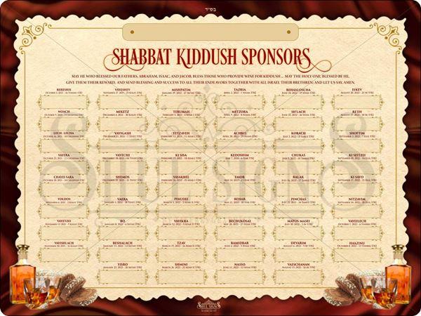 Picture of Shabbat Kiddush Weekly Sponsors - 5782